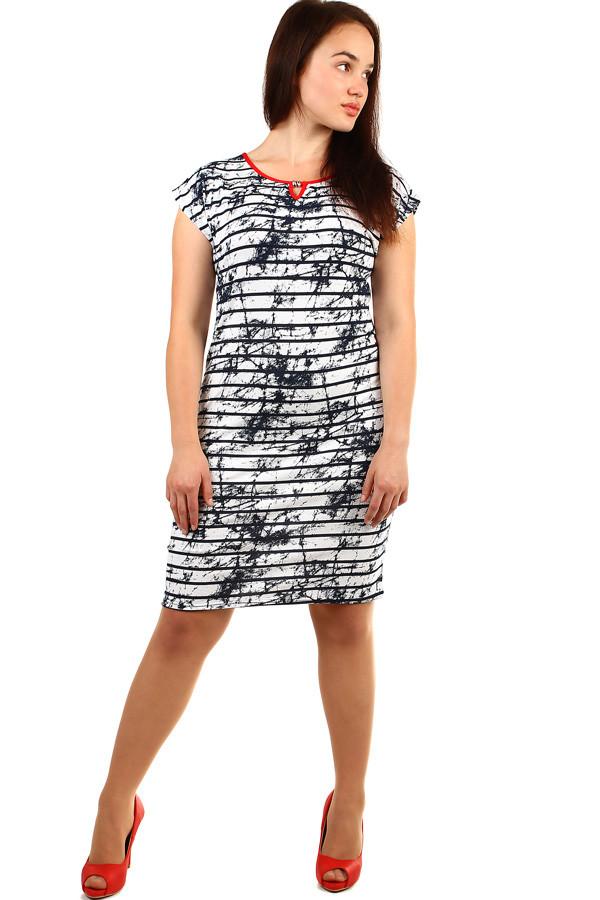 Elegantní dámské pruhované šaty nadměrné velikosti  4db4a10f1a