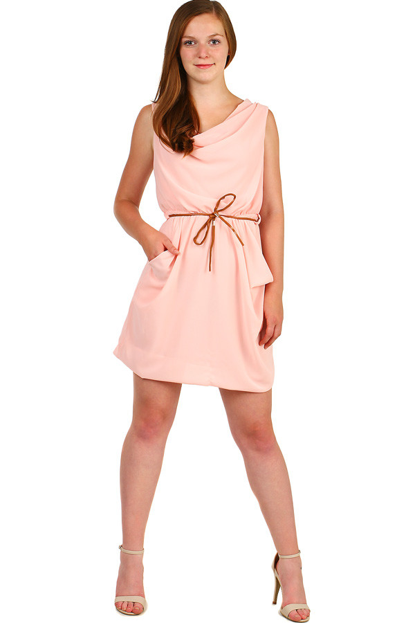 585d5e754eb9 Krátké dámské jednobarevné šaty s kapsami