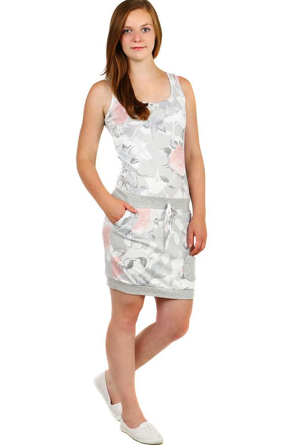 Dámské letní květované šaty s kapsami  e305d825420