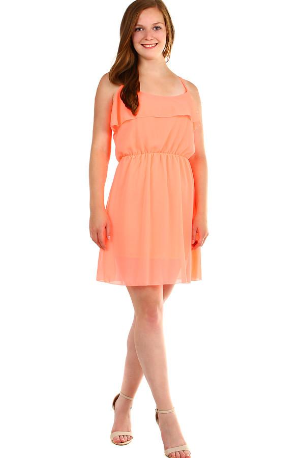 4b87457e9113 Dámské krátké šifonové šaty s volánky