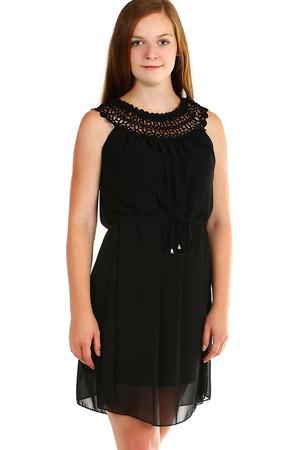 eb85d2c1239 Dámské krátké černé šaty jednobarevné bez rukávu pro plnoštíhlé ...