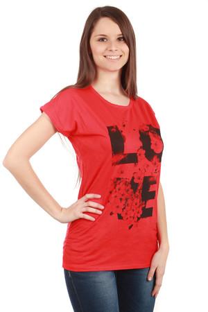 Dámské bavlněné volné tričko s krátkým rukávem a nápisem aa7e0f5a68