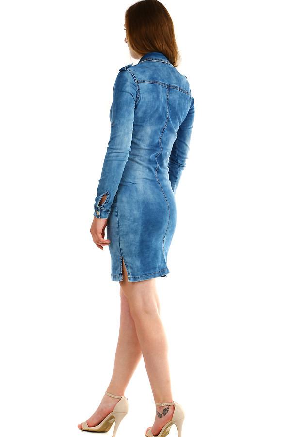 Dámské riflové šaty s dlouhým rukávem  6915b666fe0