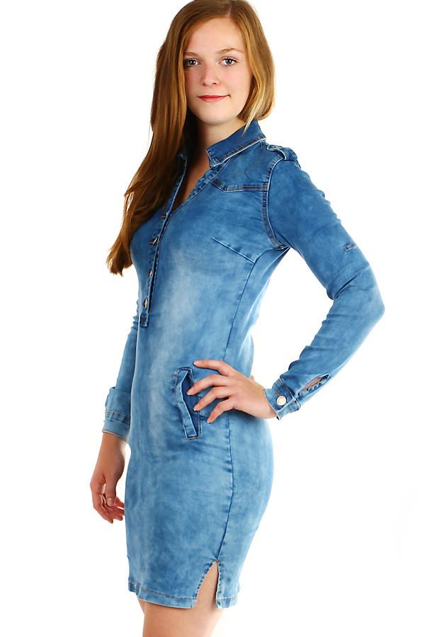 Dámské riflové šaty s dlouhým rukávem  05cc983ad3b