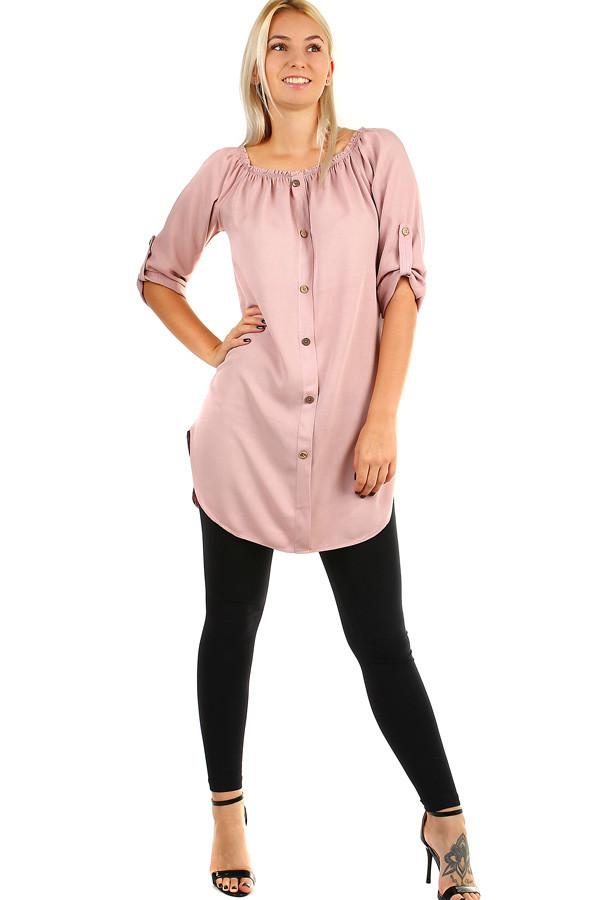 a0aaf5a88edc Dámské volné košilové šaty s 3 4 rukávem