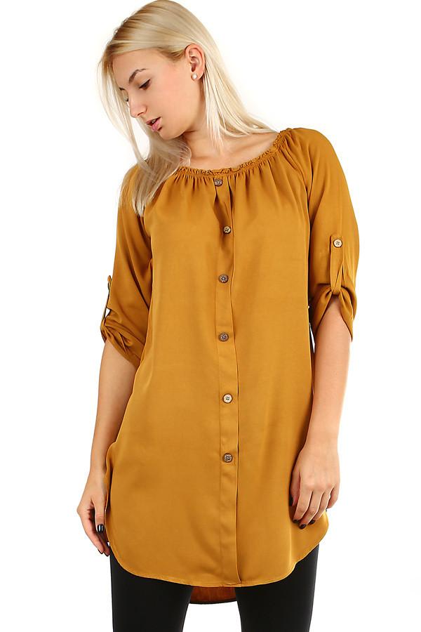 ca368a69381b Dámské volné košilové šaty s 3 4 rukávem