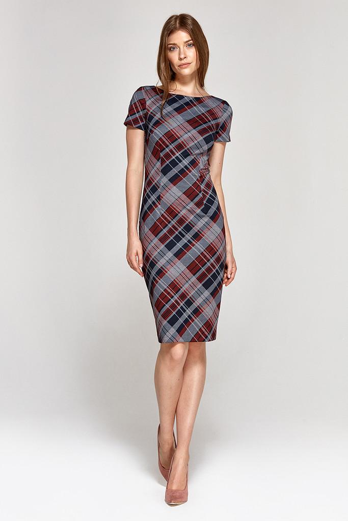 Pouzdrové šaty s kostkovaným vzorem  451789b0fd