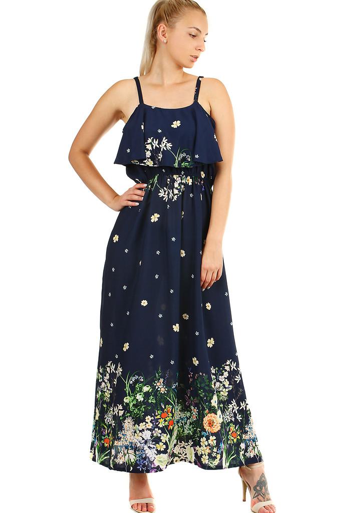 7c9009bbf06e Dámské dlouhé áčkové letní šaty s úzkými ramínky