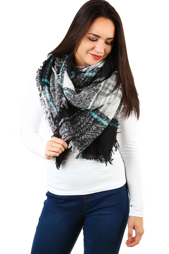 Zimní maxi šátek s kostkovaným vzorem  cb94a669ab