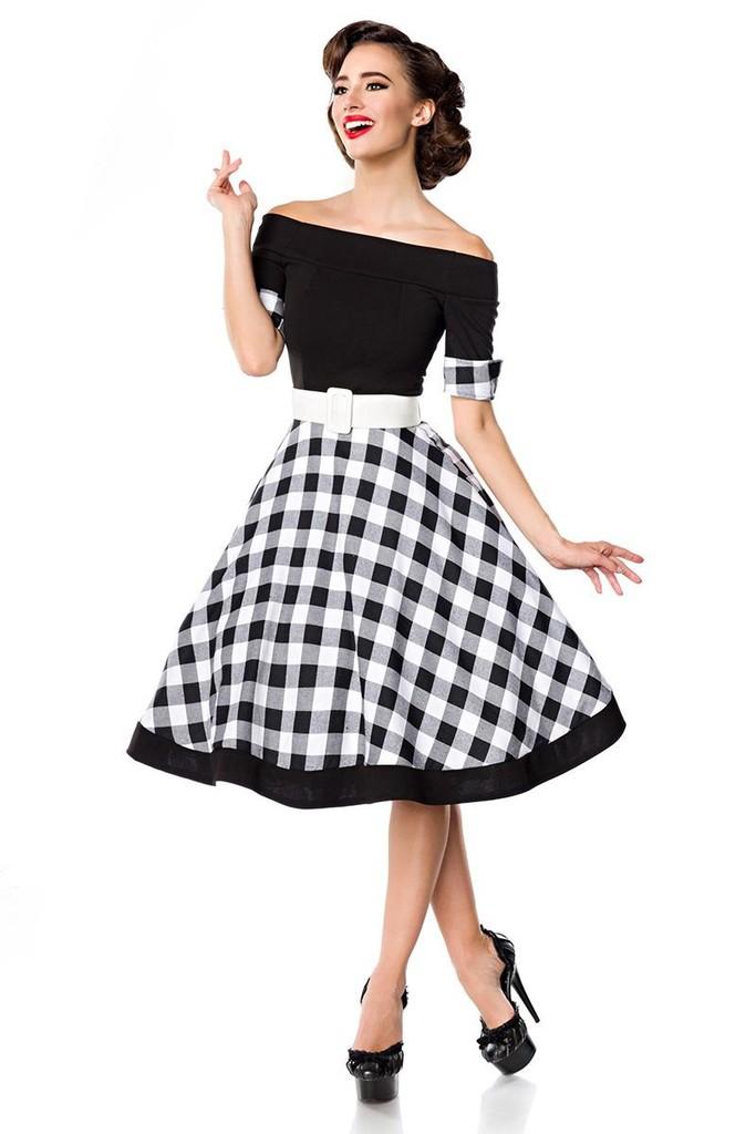 154b05944 Retro šaty s kostkovanou sukní | Glara.cz
