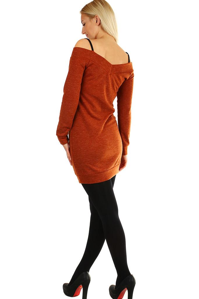 06c3972672f Úpletové šaty s krajkou a dlouhým rukávem