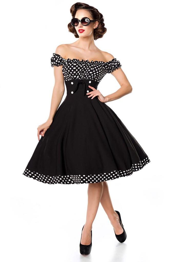 b69087a5d343 Vintage dámské šaty s Carmen výstřihem