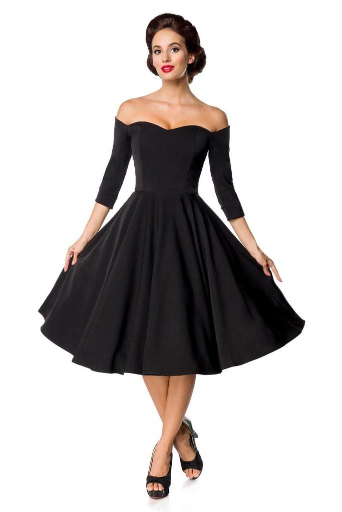 8d2053713ac7 Retro černé dámské šaty s rukávem