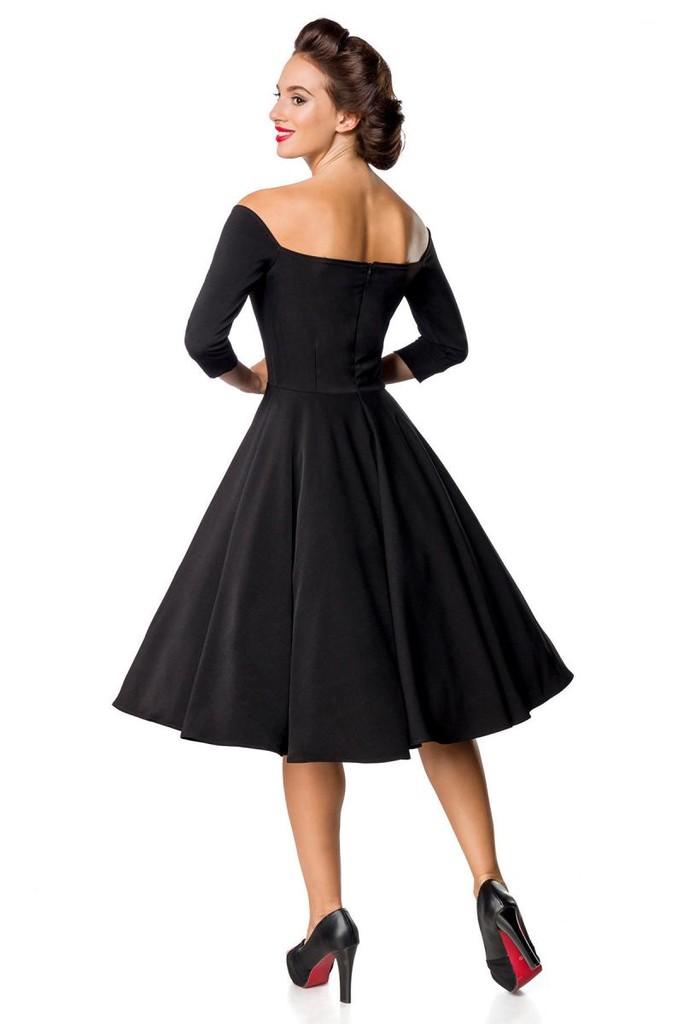 ec6b4de6930a Retro černé dámské šaty s rukávem