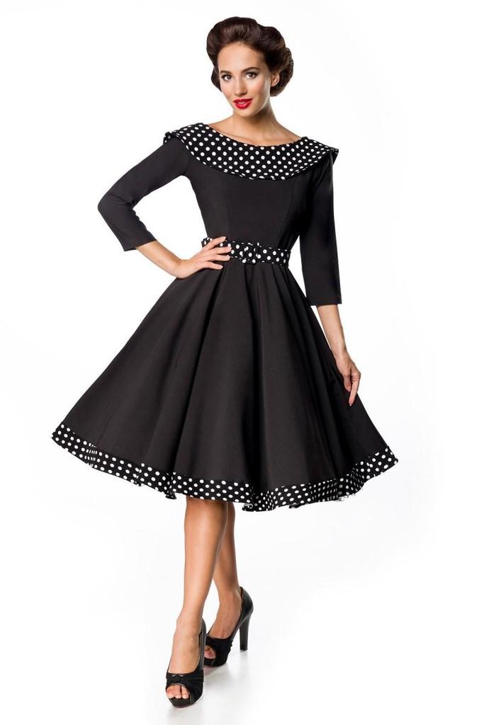 0c7097054c2c Retro společenské dámské šaty s 3 4 rukávy a límcem