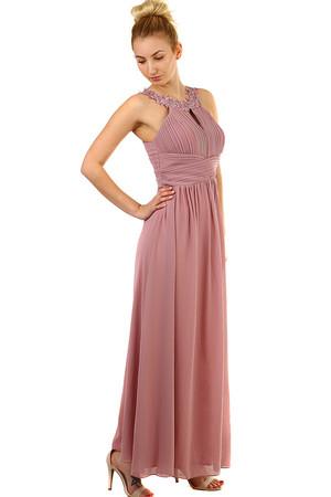 f7ba630e05bf Plesové dlouhé šaty s výšivkou a korálky
