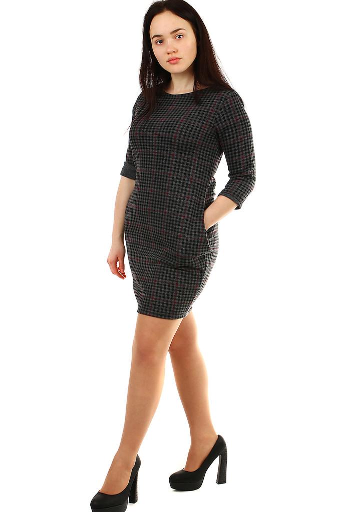 3b7fe459d91d Kostkované úpletové dámské šaty