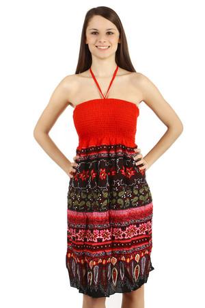 8ff5576e467 Luxusní červené bavlněné šaty s ornamentem pro plnoštíhlé
