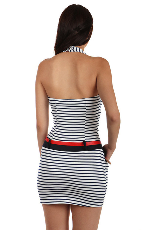 7e8dc851356 Krátké přiléhavé dámské šaty s proužky