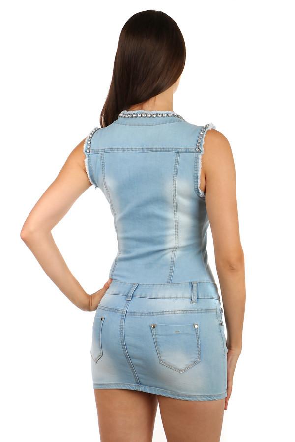 58fd51b6c788 Krátké dámské džínové šaty s širokými ramínky