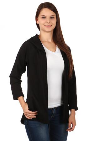 Jednobarevný dámský kardigan s kapucí 8dd87ca5b6