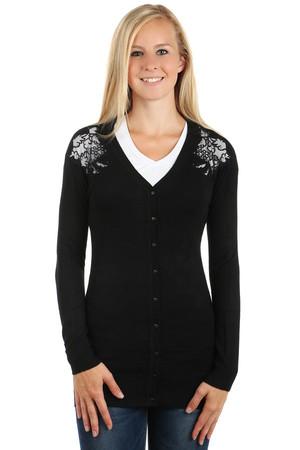 Levné dámské dlouhé černé svetry s ornamentem s dlouhým rukávem s ... f87d369187