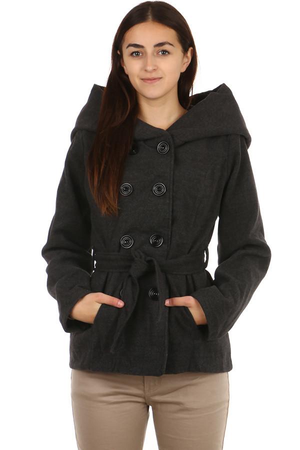 Dámský krátký kabát s velkou kapucí a páskem  c9296d1ac24