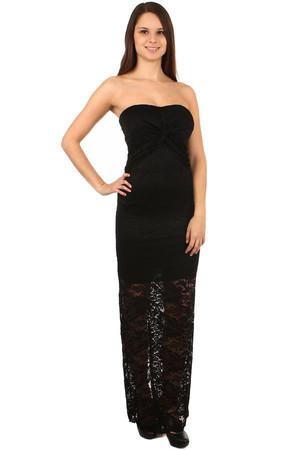 4ef3c105fe9f Dlouhé krajkované plesové šaty s odhalenými rameny